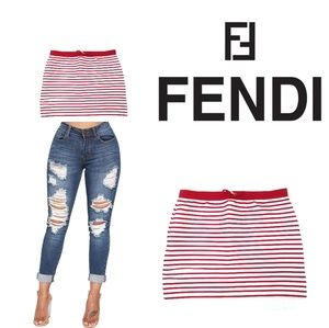 FENDI Red Stripe Tube Crop Top Shirt Blouse Small
